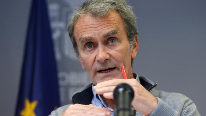 Fernando Simon, durante la rueda de prensa ofrecida este lunes en Madrid.