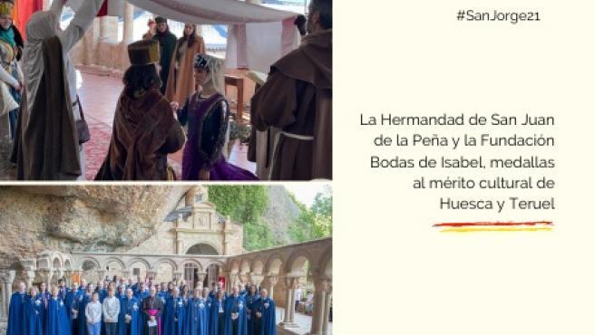 La Hermandad de San Juan de la Peña y la Fundación Bodas de Isabel, medallas al mérito cultural de Huesca y Teruel.