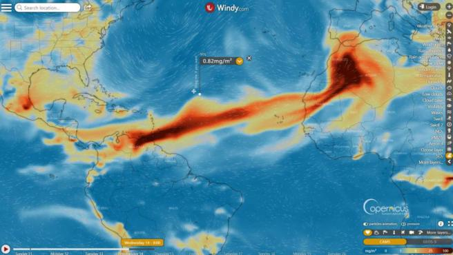 Imagen de satélite del avance de la nube de ceniza.