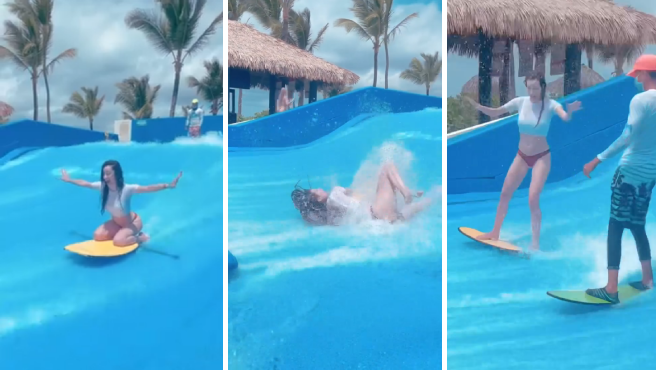 Adara Molinero haciendo surf en una piscina de olas.