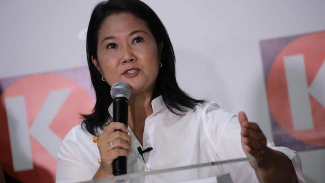 La candidata a la presidencia de Perú por el partido Fuerza Popular, Keiko Fujimori, durante una rueda de prensa en Lima.