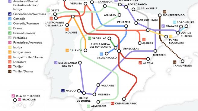 Mapa de los lugares de ficción de series y películas rodadas en España