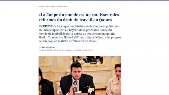 Entrevista al jeque Thamer bin Hamad Al Thani en 'Le Figaro'.