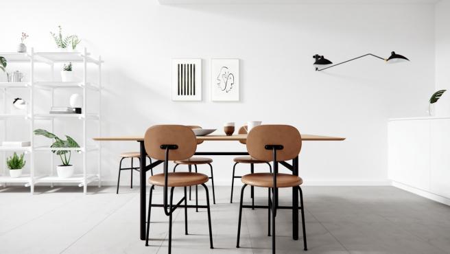 Un comedor de estilo minimalista.