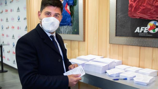 David Aganzo, presidente de AFE, durante las elecciones