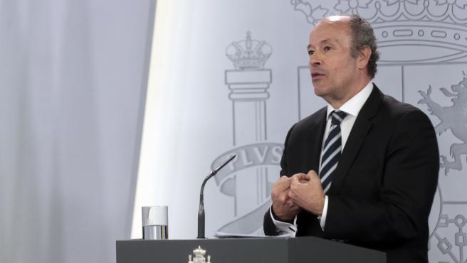 El ministro de Justicia, Juan Carlos Campo, durante una rueda de prensa.
