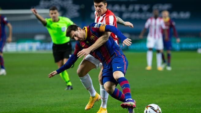 Messi, durante la final de la Supercopa de España entre Barcelona y Athletic