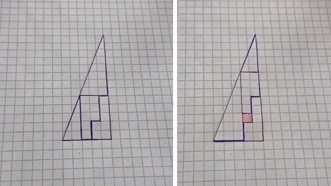 El triángulo 'mágico' que hace desaparecer un cuadrado.