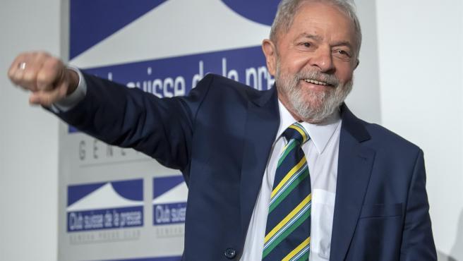 El expresidente brasileño Luis Inácio Lula da Silva, durante una conferencia de prensa en Ginebra (Suiza), en marzo de 2020.