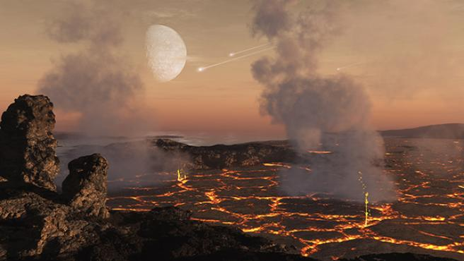 Se cree que las atmósferas tempranas de los planetas rocosos se forman principalmente a partir de gases liberados de la superficie del planeta como resultado del intenso calentamiento durante la acumulación de bloques de construcción planetarios y la posterior actividad volcánica al principio del desarrollo del planeta.
