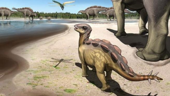 Recreación del estegosaurio del tamaño de un gato.