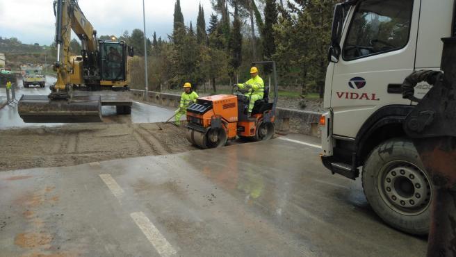 Finalizan las obras en la travesía de Peralta de Calasanz (Huesca).