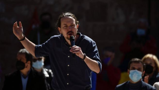 Pablo Iglesias durante el acto en Alcalá de Henares.