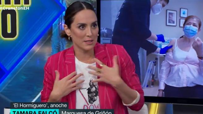 La marquesa de Griñón, Tamara Falcó, habla sobre las vacunas en la tertulia de 'El Hormiguero'.