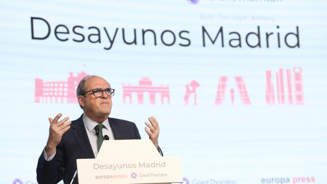 El candidato del PSOE a la Presidencia de la Comunidad de Madrid, Ángel Gabilondo, interviene en un Desayuno Madrid de Europa Press, a 19 de abril de 2021.