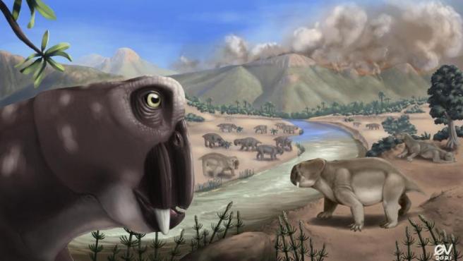 Ilustración que muestra a 'Lystrosaurus' durante la extinción masiva del final del Pérmico.