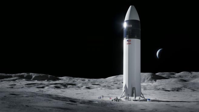 La empresa de Musk ha celebrado la noticia compartiendo esta ilustración de Starship en la Luna.