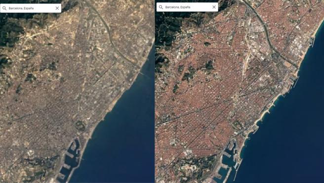 Antes y después de la ciudad de Barcelona.