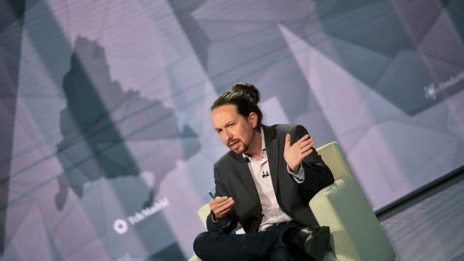 Imagen del candidato de Unidas Podemos a la Presidencia de la Comunidad de Madrid, Pablo Iglesias, durante una entrevista en Telemadrid.