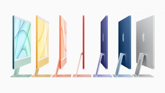 Los nuevos iMac siguen el aspecto retro del iPhone 12 y están disponibles en 7 colores.