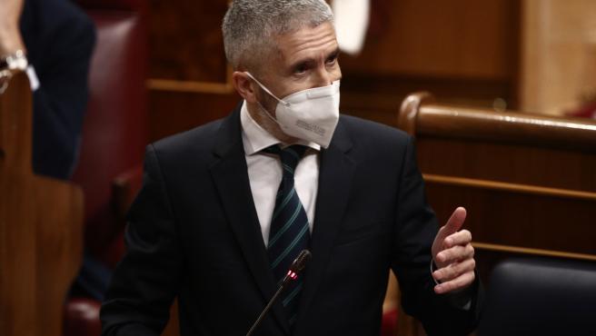 Archivo - El ministro del Interior, Fernando Grande-Marlaska, interviene durante una sesión de Control al Gobierno en el Congreso de los Diputados, en Madrid, (España), a 17 de marzo de 2021. La oposición pregunta hoy