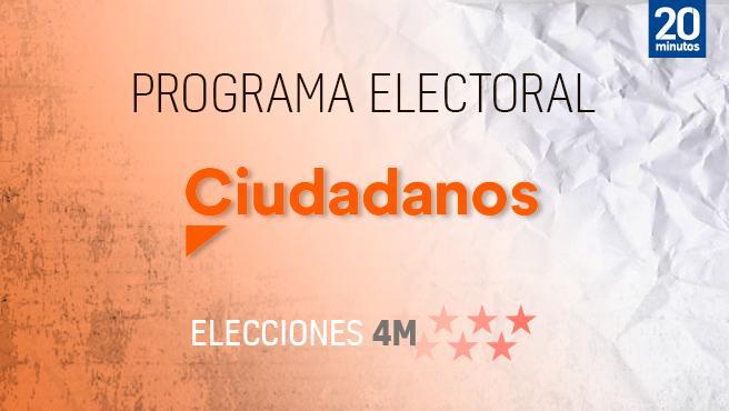 Programa electoral de Ciudadanos para el 4-M.