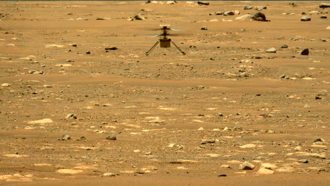 Imagen del segundo vuelo de Ingenuity realizado por el rover Perseverance.