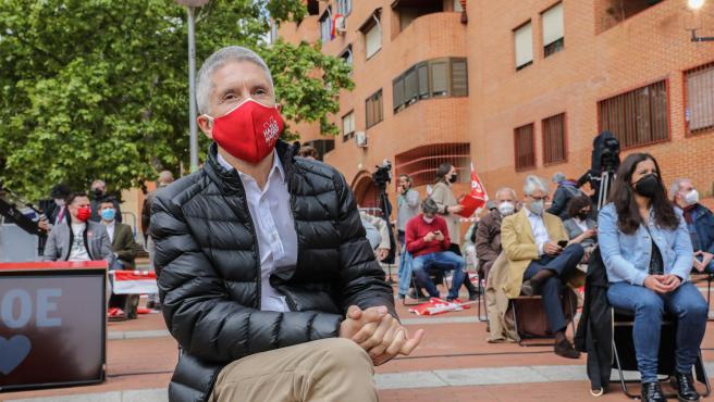 El ministro del Interior, Fernando Grande-Marlaska, durante un acto electoral del PSOE