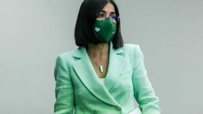 La ministra de Sanidad, Carolina Darias a su salida de una rueda de prensa posterior al Consejo Interterritorial del Sistema Nacional de Salud en la Secretaría de Estado de Comunicación del Complejo de la Moncloa, a 21