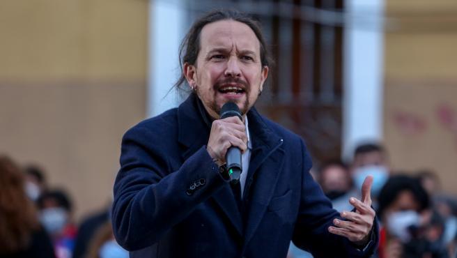 El candidato de Unidas Podemos a la Presidencia de la Comunidad, Pablo Iglesias durante un acto del partido a 23 de abril de 2021 en el distrito de Villaverde, en Madrid (España).