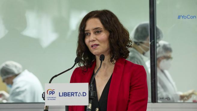 La presidenta de la Comunidad de Madrid y candidata a la reelección por el PP, Isabel Díaz Ayuso