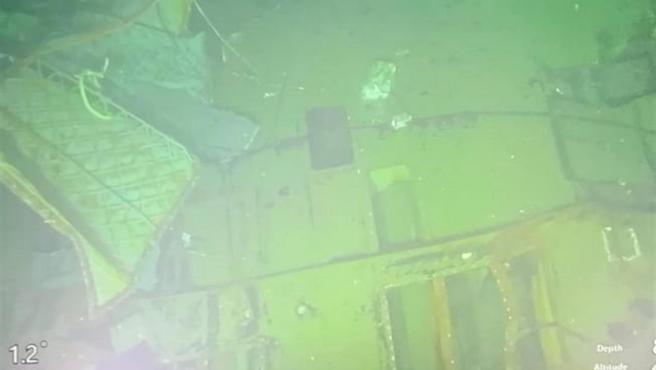 Los restos del submarino indonesio KRI-Nanggala-402, hallado partido en tres, a una profundidad de 838 metros.