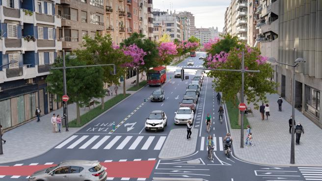 Figuración virtual de la avenida del Puerto tras su reurbanización.
