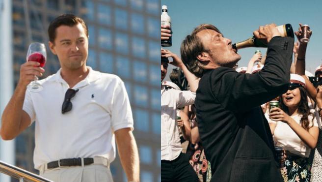 Leonardo DiCaprio en 'El lobo de Wall Street' y Mads Mikkelsen en 'Otra ronda'