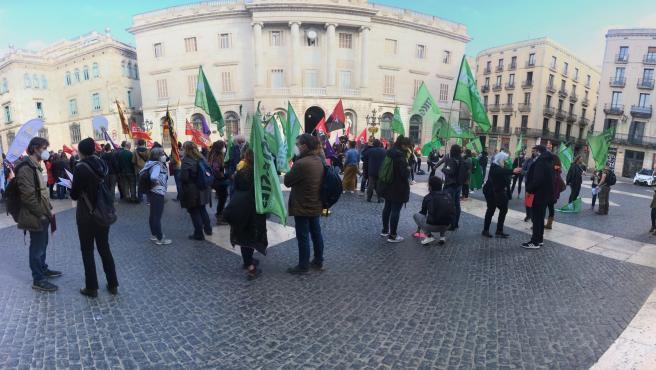Manifestación de sindicatos educativos en Barcelona.