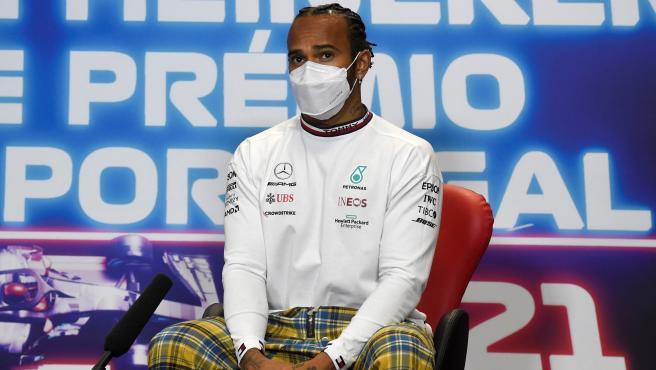 Lewis Hamilton, en la rueda de prensa previa al GP de Portugal