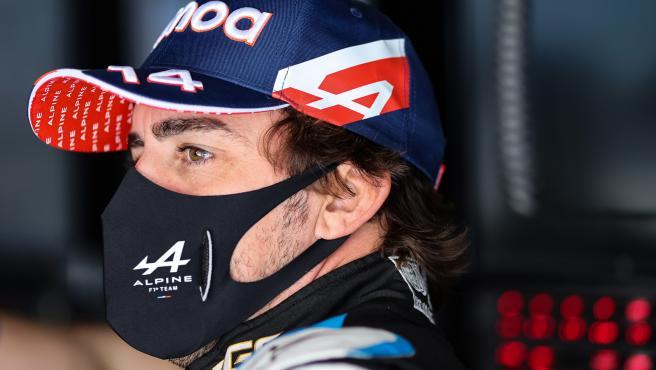 Fernando Alonso, en el palco alpino