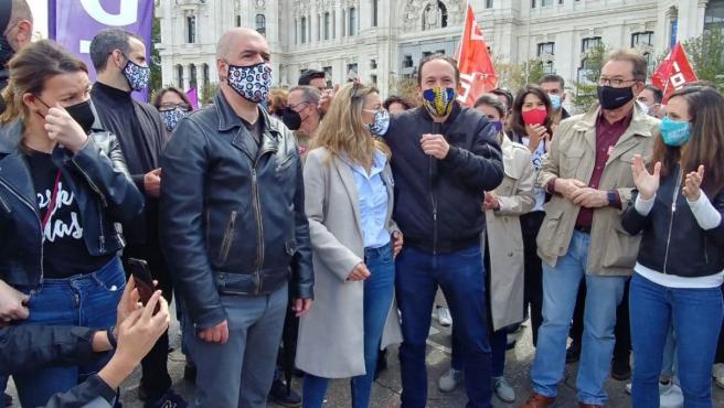 Unai Sordo, Yolanda Díaz, Pablo Iglesias e Ione Belarra, entre otros, durante la manifestación del 1 de mayo.