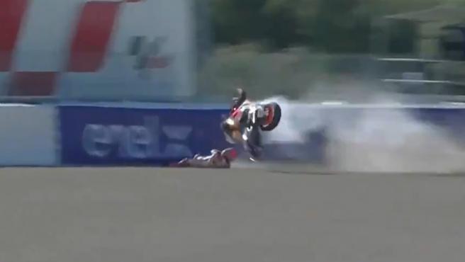 Accidente de Marc Márquez durante la FP3 del GP de España