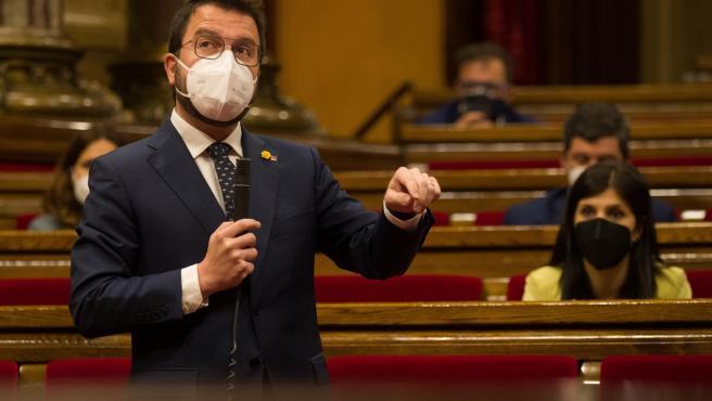 El vicepresidente del gobierno en funciones, Pere Aragonés, en el Parlamento de Cataluña.