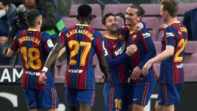 El Barça celebra un gol.