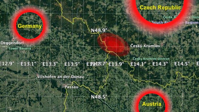 La zona del impacto estaría cerca de las fronteras entre Alemania, República Checa y Austria.