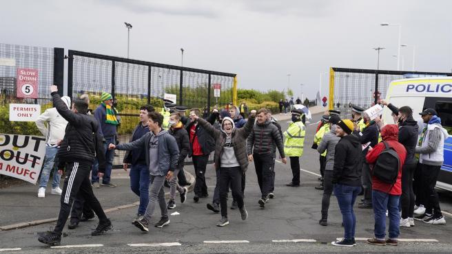 Manchester fans around Old Trafford.