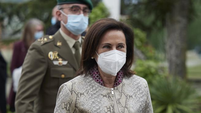 La ministra de Defensa, Margarita Robles, durante un acto en homenaje al cabo fallecido tras la vacuna de AstraZeneca.