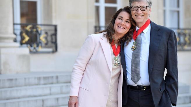 Bill Gates y Melinda Gates, en París, Francia, en 2017.