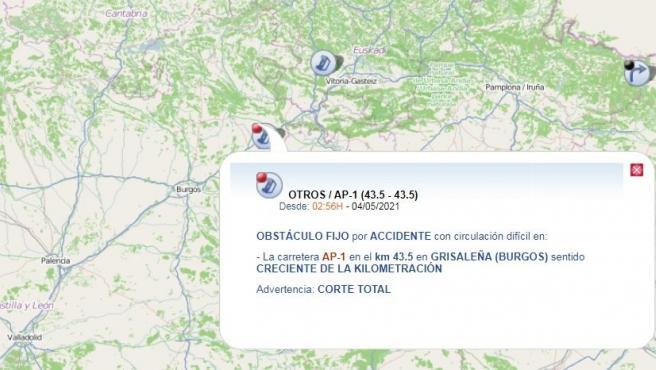 Cortada la AP-1 en Grisaleña (Burgos) por un accidente que se ha saldado con un herido