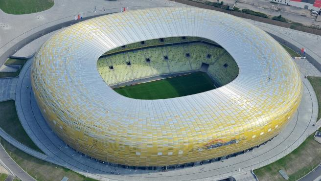 Aerial view of the Gdansk stadium where the Europa League final will be played.