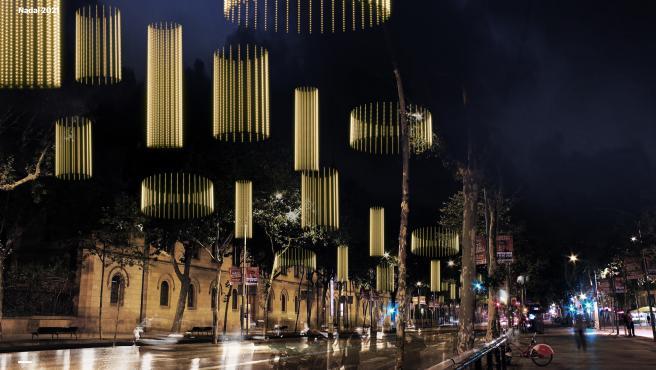 Simulación de las luces de Navidad 2021 en la Gran Vía de Barcelona, con sus lámparas de luces led.