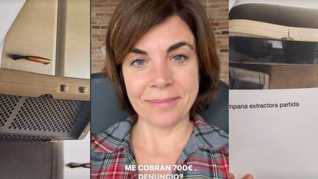 La periodista Samanta Villar, entre las dos fotos de la discordia.