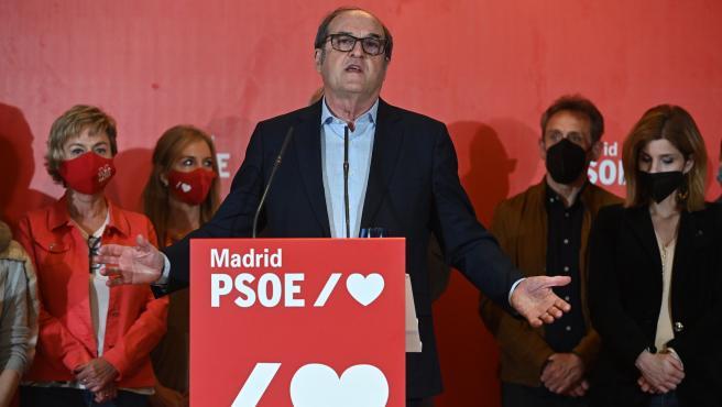 Ángel Gabilondo, candidato del PSOE a la Comunidad de Madrid, comparece para valorar los resultados.